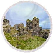 Sinclair Castle Scotland - 3 Round Beach Towel