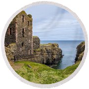 Sinclair Castle Scotland - 4 Round Beach Towel