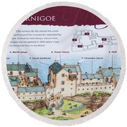 Sinclair Castle Scotland - 8 Round Beach Towel