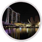 Helix Bridge To Marina Bay Sands Round Beach Towel