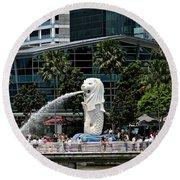 Singapore Merlion Park Round Beach Towel