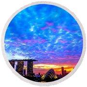 Singapore Skyline Round Beach Towel