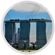 Singapore Skyline With Marina Bay Sands And Gardens By The Bay Supertrees Round Beach Towel
