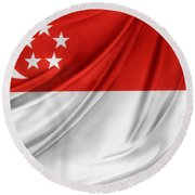 Singaporean Flag Round Beach Towel