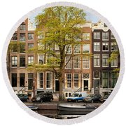 Singel Canal Houses In Amsterdam Round Beach Towel