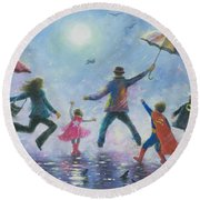 Singing In The Rain Super Hero Kids Round Beach Towel