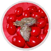 Singing Over Red Eggs Round Beach Towel