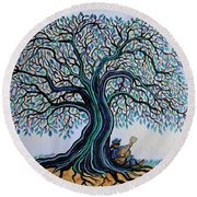 Singing Under The Blues Tree Round Beach Towel