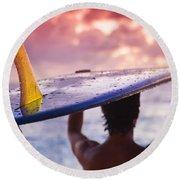 Single Fin Surfer Round Beach Towel
