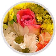 Single Rose Bouquet Round Beach Towel
