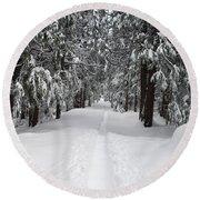 Single Track Cross Country Skiing Trail Yosemite National Park Round Beach Towel