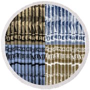 Singles In Gold And Blue Round Beach Towel