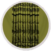 Singles In Light Yellow Round Beach Towel