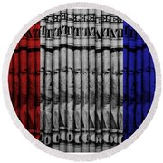 Singles In Red White And Blue Round Beach Towel