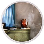 Sink - The Jug And The Window Round Beach Towel by Mike Savad