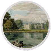 Sion House, Engraved By Robert Havell Round Beach Towel by William Havell