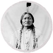 Sioux Chief Sitting Bull Round Beach Towel by War Is Hell Store