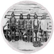 Sioux War Party Round Beach Towel