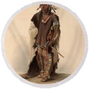 Sioux Warrior Round Beach Towel