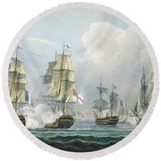 Sir Richard Strachans Action After The Battle Of Trafalgar Round Beach Towel by Thomas Whitcombe