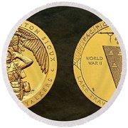 Sisseton Wahpeton Oyate Sioux Tribe Code Talkers Bronze Medal Art Round Beach Towel
