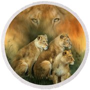 Sisterhood Of The Lions Round Beach Towel
