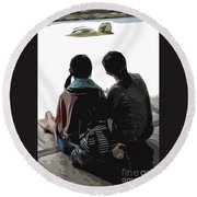 Sisters At The Zen Garden Round Beach Towel