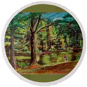 Sisters At Wason Pond Round Beach Towel by Sean Connolly