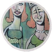 Sisters Going To The Ball Round Beach Towel