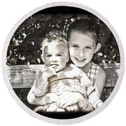 Sisters In Sepia Round Beach Towel