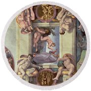 Sistine Chapel Ceiling 1508-12 The Creation Of Eve, 1510 Fresco Post Restoration Round Beach Towel