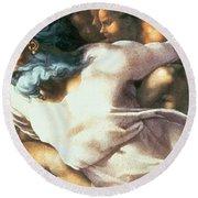 Sistine Chapel Ceiling Creation Of Adam Round Beach Towel by Michelangelo Buonarroti