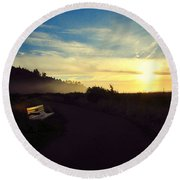 sit With Me And Watch The Sunset Round Beach Towel