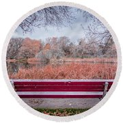 Sit With Me Round Beach Towel