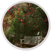 Sit With Me Here Round Beach Towel by Laurie Search
