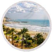 Sitges Spain On The Mediterranean Coast Round Beach Towel
