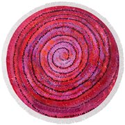 Sits In The Middle And Knows Original Painting Round Beach Towel