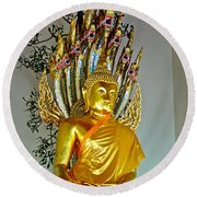 Sitting Buddha In Wat Po In Bangkok-thailand Round Beach Towel