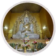 sitting Buddha made from one single marble block in KYAUKTAWGYI PAGODA Round Beach Towel