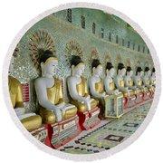 sitting Buddhas in Umin Thonze Pagoda Round Beach Towel