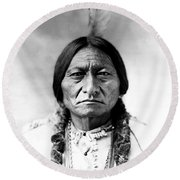 Sitting Bull Round Beach Towel by Bill Cannon