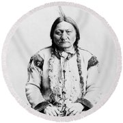 Sitting Bull Round Beach Towel by War Is Hell Store