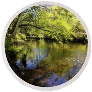 Sitting By The Creek  Round Beach Towel
