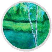 Sitting By The Pond Round Beach Towel