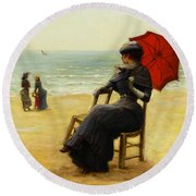 Sitting By The Sea Round Beach Towel