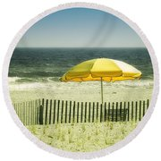 Sitting By The Shore Round Beach Towel