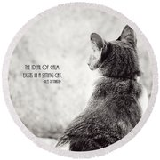 Sitting Cat Round Beach Towel
