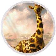 Sitting Giraffe Round Beach Towel