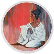 Sitting Lady In White Next To A Red Wall Round Beach Towel