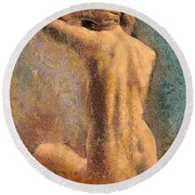 Sitting Nude 3 Round Beach Towel